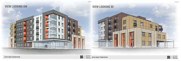 A developer is planning new apartments along Tennyson Street. Renderings courtesy of Allante.
