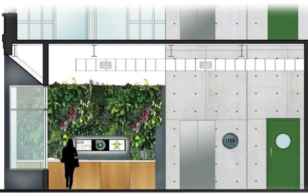 A rendering of GreenSpot's proposed office redesign, with a panel tracking energy usage. (Courtesy GreenSpot)
