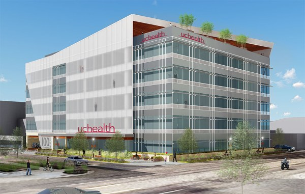 A rendering of the planned five-story, 89,000-square-foot outpatient medical center at First Avenue and Cook Street. (Courtesy UCHealth)