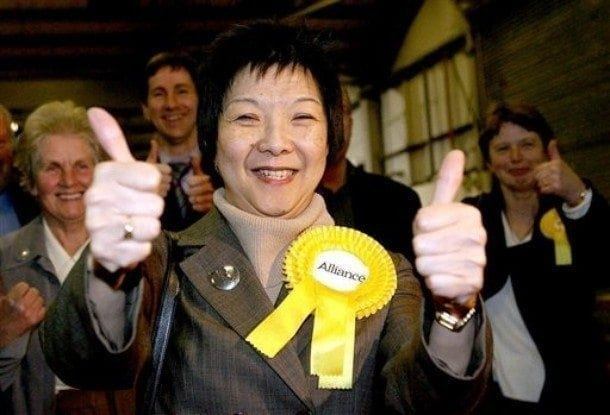 Liberal politician Anna Lo MLA of the Alliance Party, a moderate Unionist grouping in the north-east of Ireland