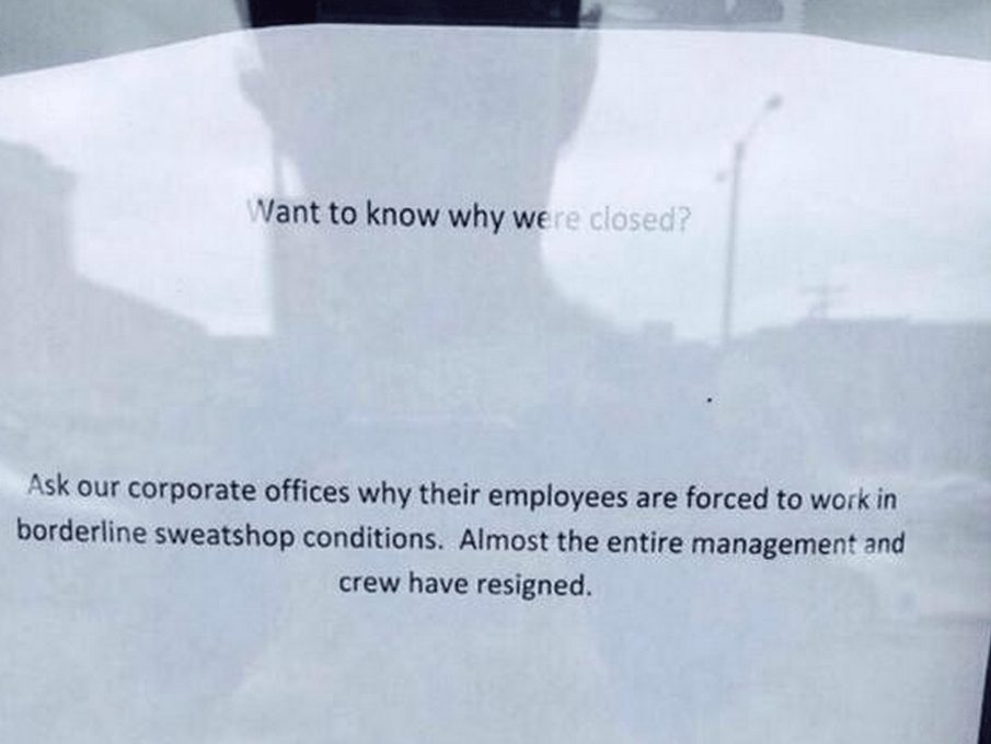 Penn State Chipotle Appears Shut After Staff Posts Sign Alleging 'Borderline Sweatshop Conditions'