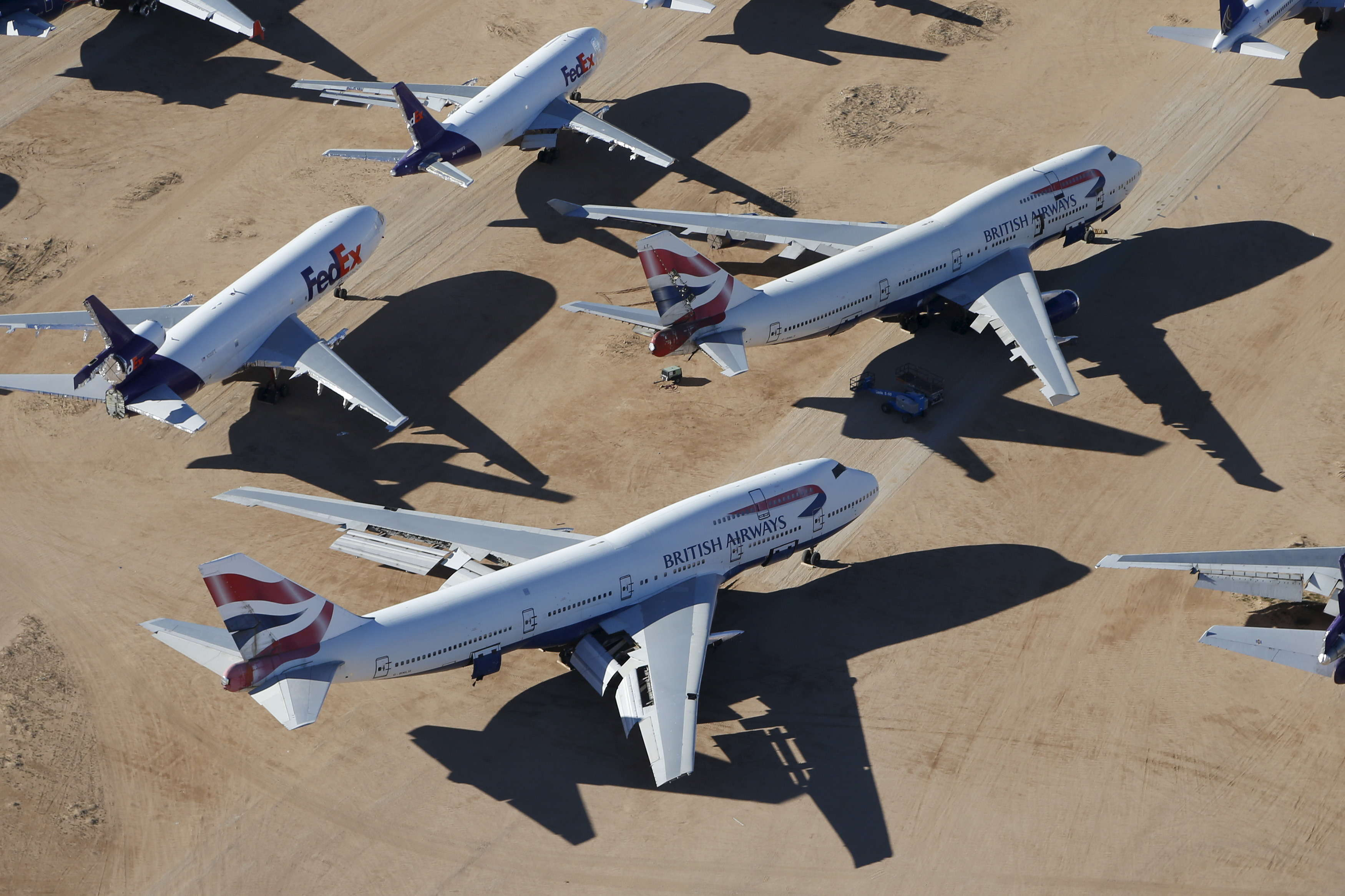 As of March 2015, British Airways has quite a few 747s at the bone yard.