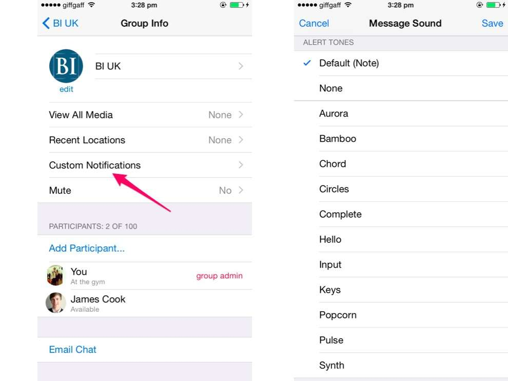 Create custom group chat notifications.