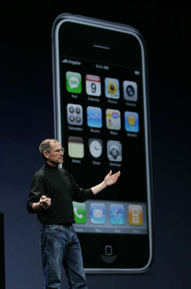 After years of speculation, Jobs would officially unveil the iPhone at January 2007's Macworld Expo. It combined the music features of the iPod with a slick, responsive touch screen that didn't need a stylus, unlike most mobile devices at the time. And the iPhone's Safari was the first full-featured web browser on a phone.