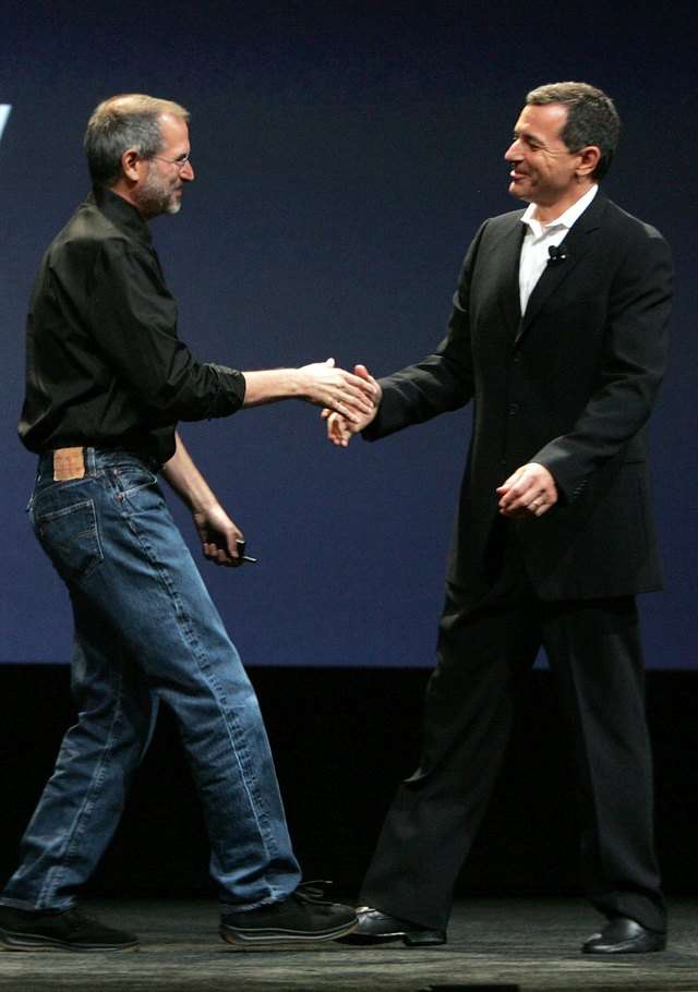 But at this point, Jobs' health was starting to fade, and observers started to take notice. Note how thin Jobs looks here, shaking hands with Disney CEO Bob Iger at a 2006 Apple event.