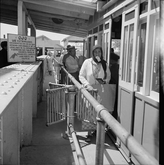 People able to enter the US legally passed via turnstiles, as seen in this 1937 photo. During the Great Depression, Mexican immigrants faced increased risk of deportation as American hostility toward immigrant workers grew.
