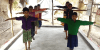 Students doing physical training at the Learning Hub in Sunderbans.