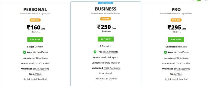 ResellerClub Linux Shared Web Hosting Plans