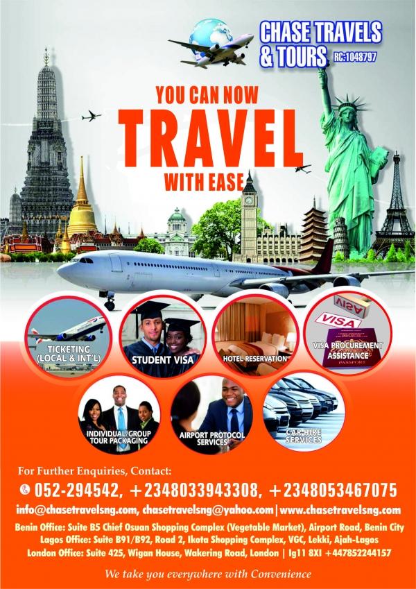 CHASE TRAVELS AND TOURS Benin City Nigeria  Phone Address