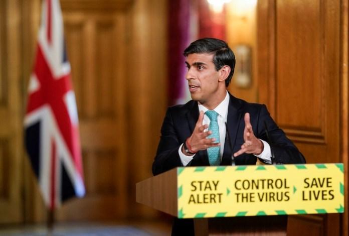 © Reuters. Britain's Chancellor Sunak holds COVID-19 presser in London