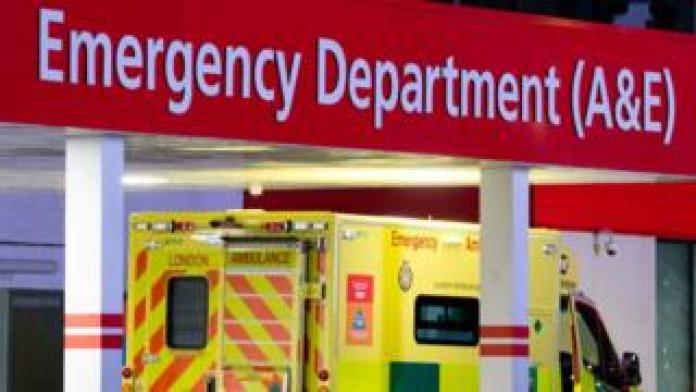 Ambulance arriving at an A&E department
