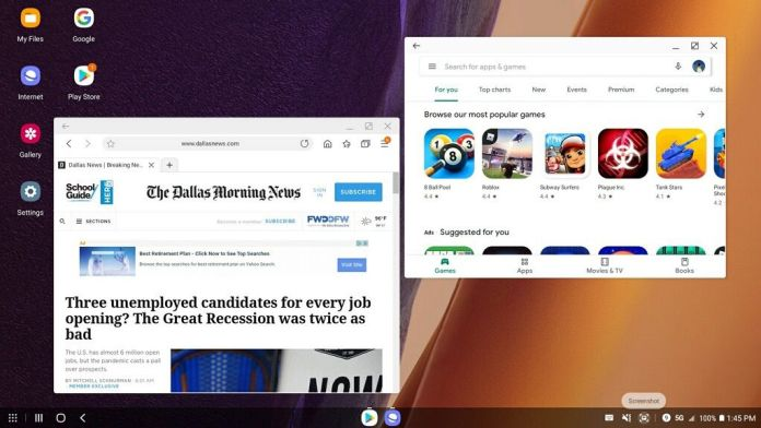 Samsung's Dex lets users of the Note20 Ultra 5G use the phone like a desktop computer. This screenshot shows the phone's browser and Google Play store.