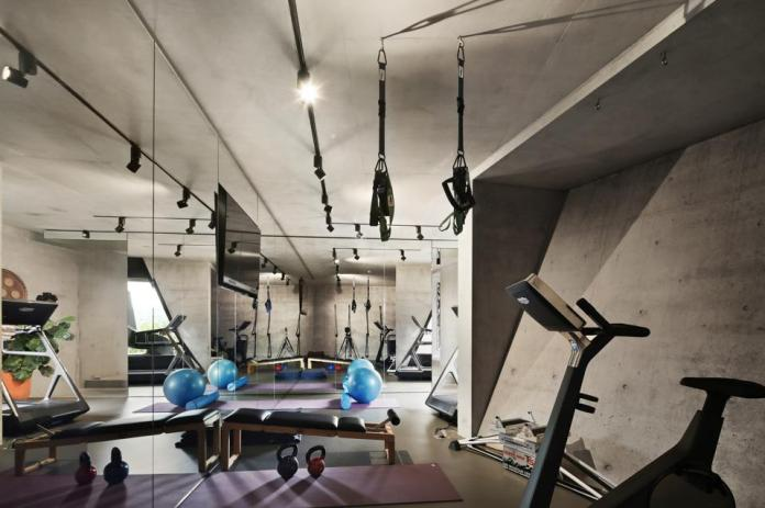 home gym inside modern home at 25 Neerim Road Castle Cove, Sydney, Australia