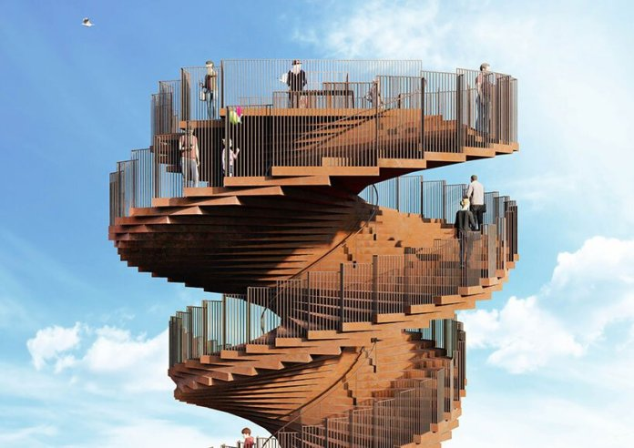 bjarke ingels group's spiraling 'marsk' watchtower soon to become a new icon in denmark