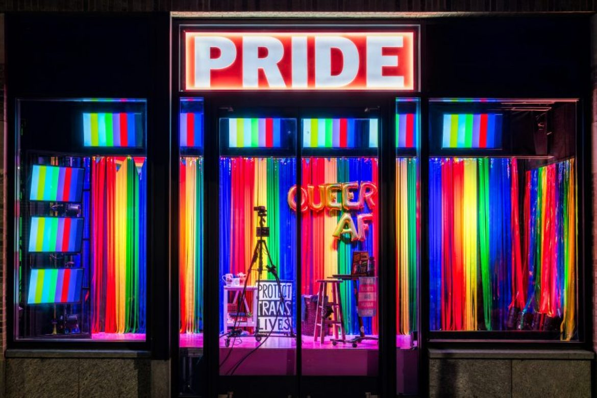 Pride features trans flags and Pride bunting