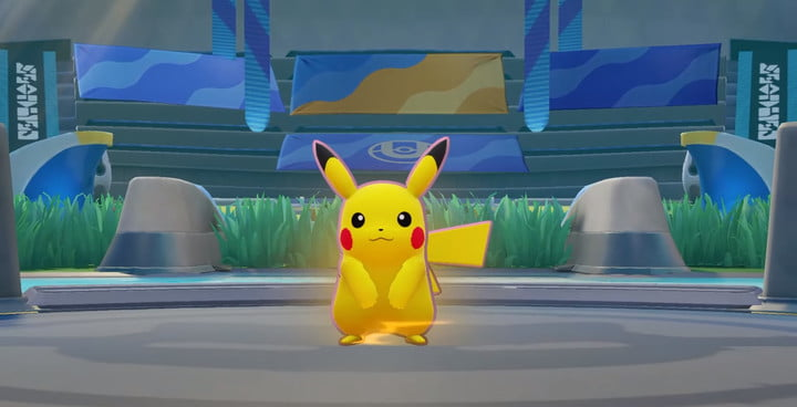 Pikachu victory pose in Pokémon Unite.