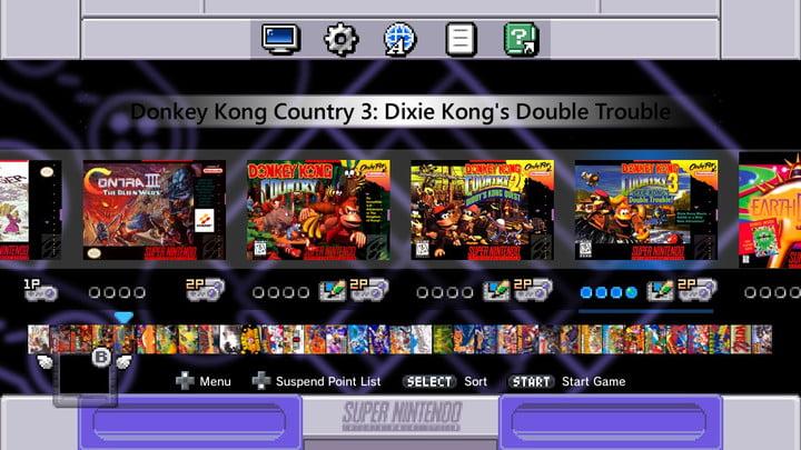 SNES Mini menu screen.