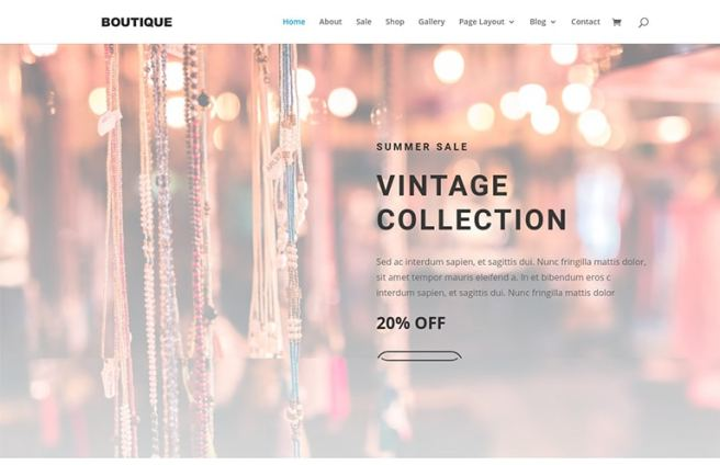 boutique website template