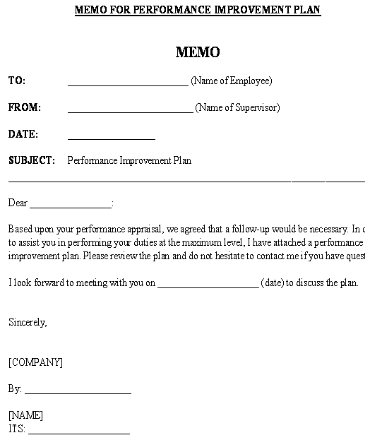 Customize this employee performance review policy template to your company's needs and use it as a starting point for writing your employee handbook. Memo For Attached Performance Improvement Plan Short Template Download From Human Resources Policies And Procedures