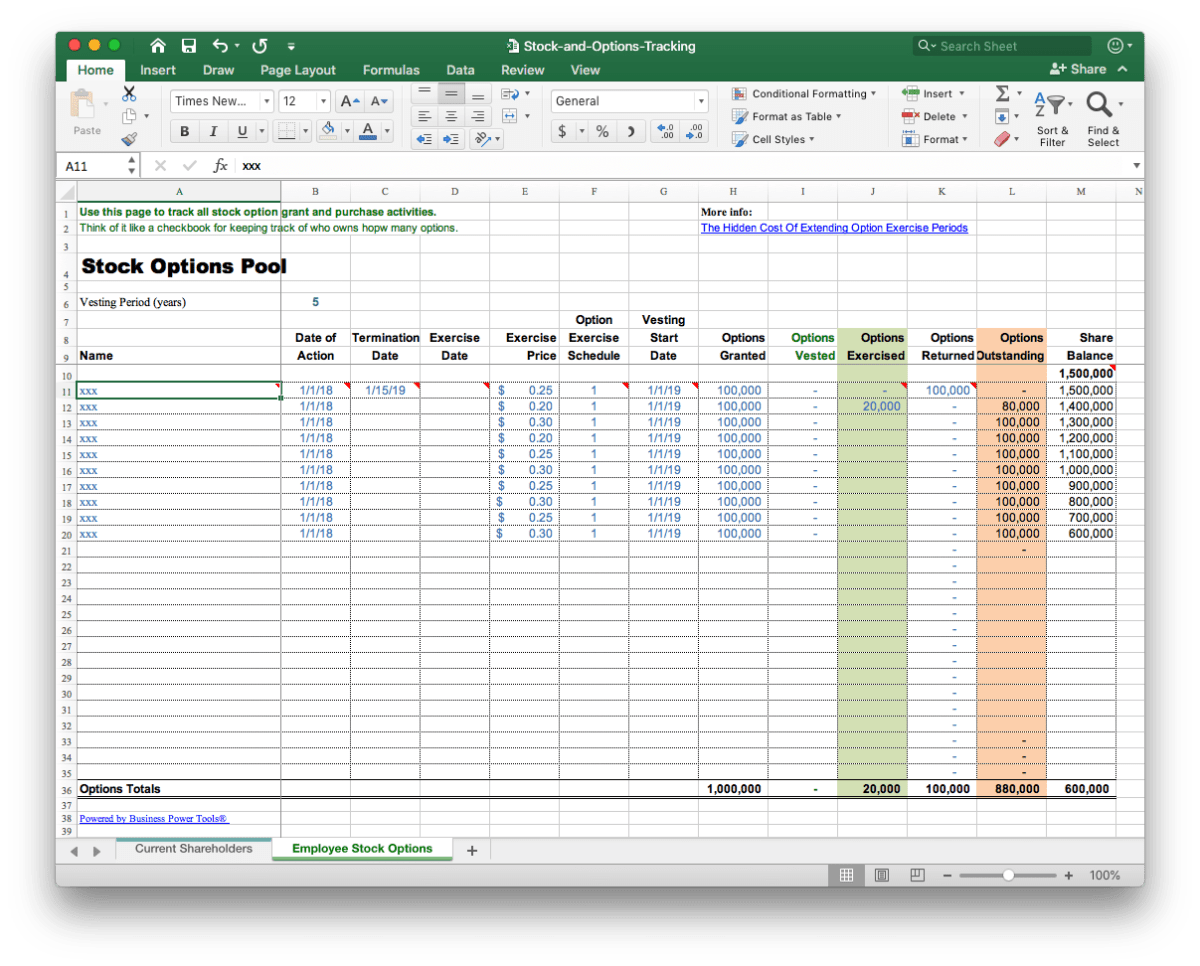 employee incentive stock options software template pool excel