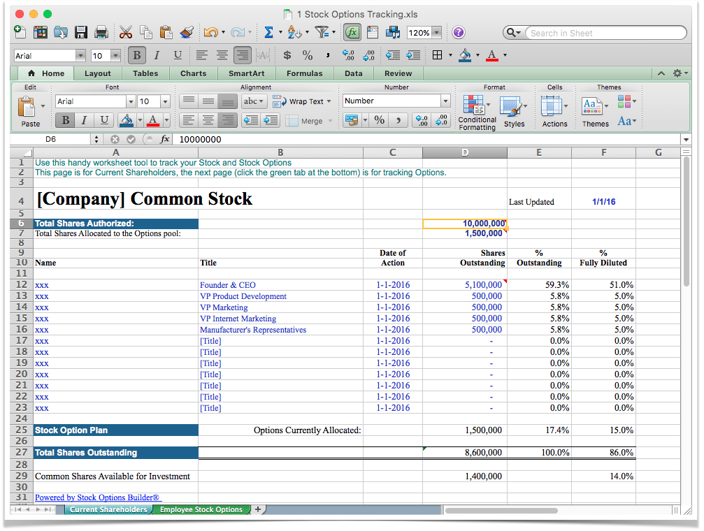best excel founders stock options allocation tracking worksheet software app template