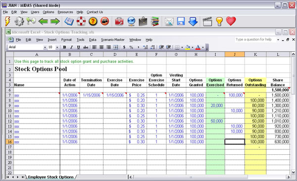 employee incentive stock options software template pool