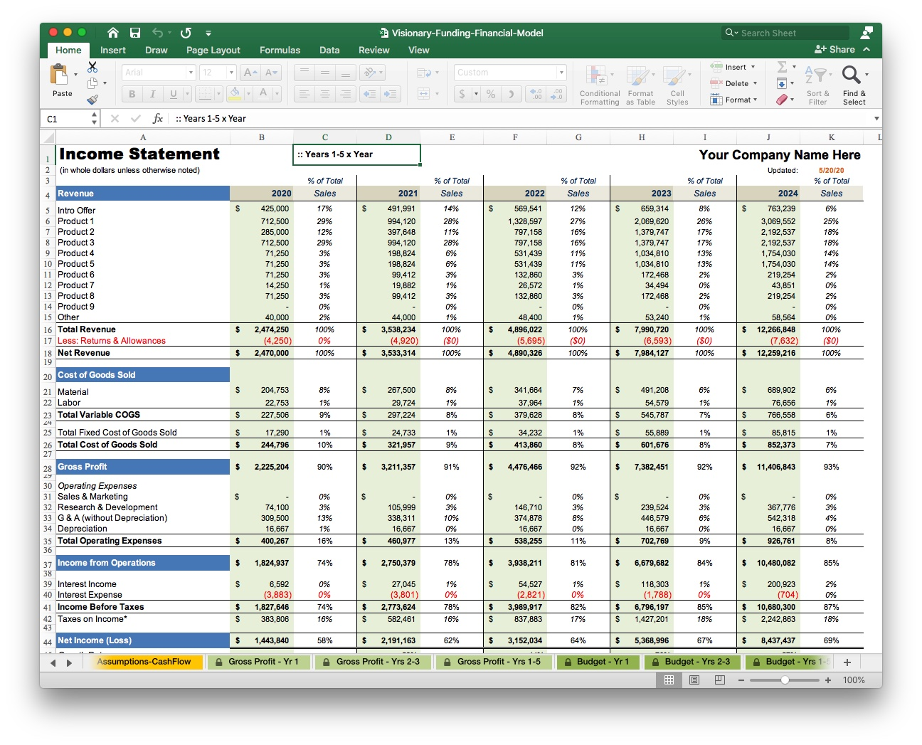 free business plan excel financial projection model
