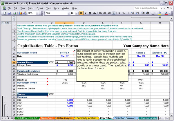 Financial Plan Template. Business Planning Excel Valuation ...
