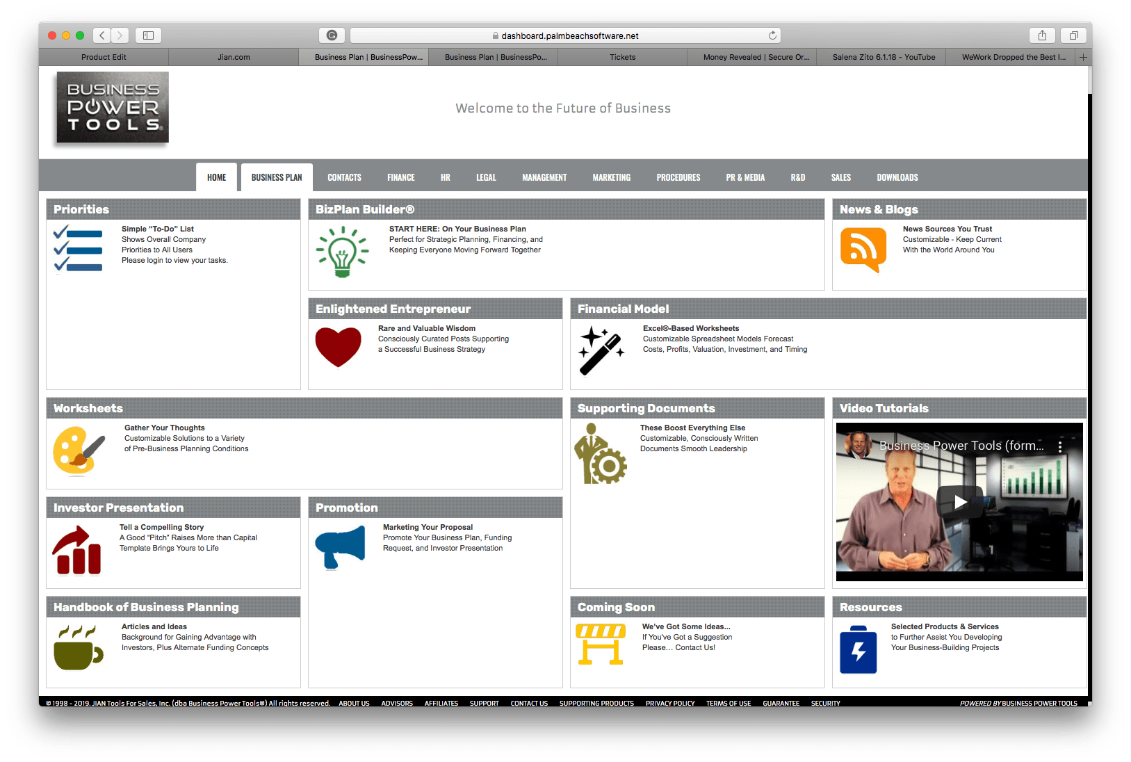 Business Plan Builder software template dashboard
