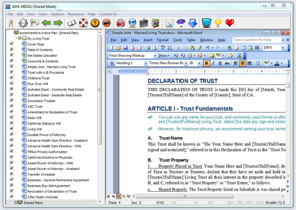 Living Trust Builder estate planning software template