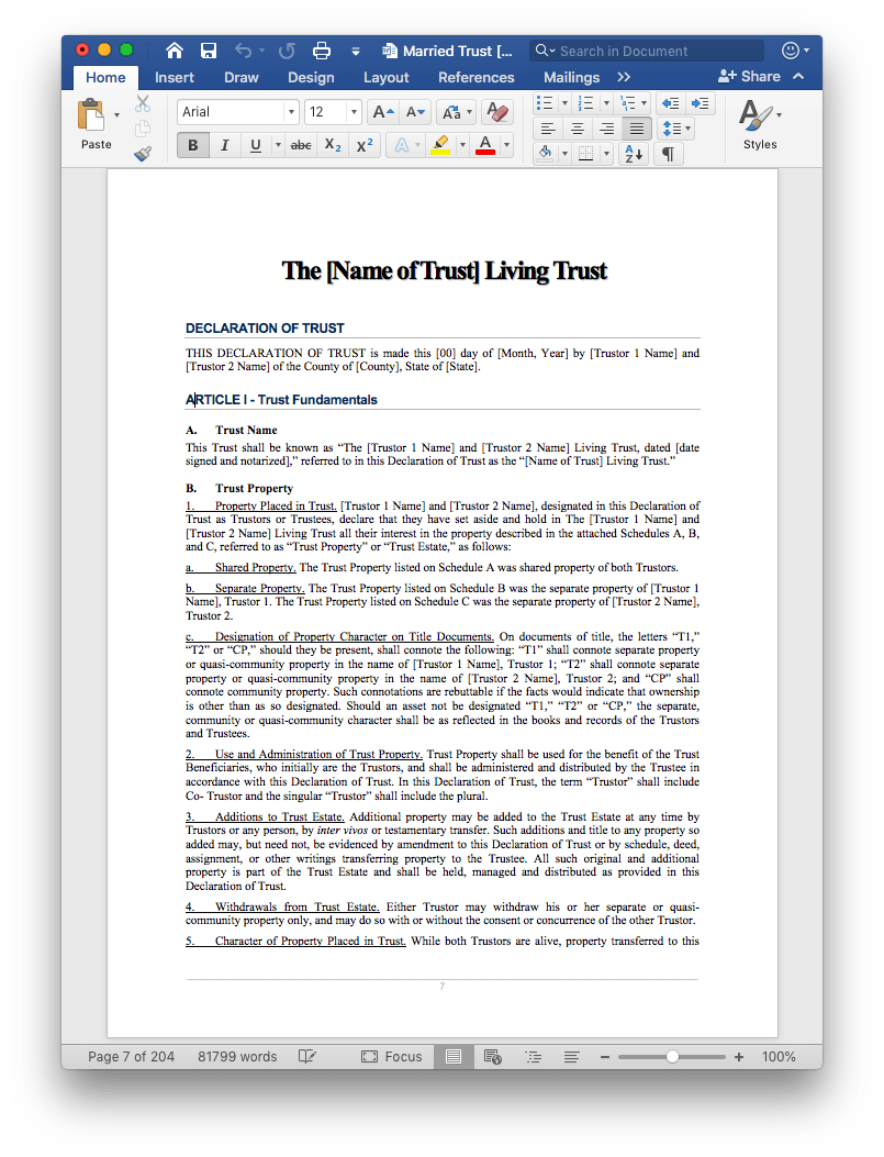 estate plan living trust document template edit word
