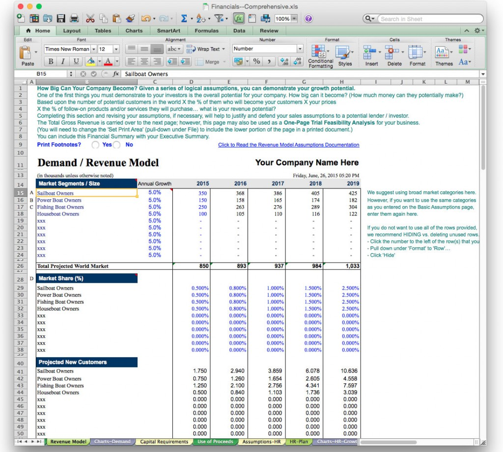 Business Plan Financial Model Template