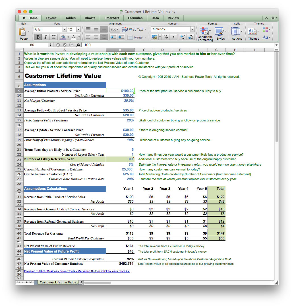 screen image customer lifetime value excel