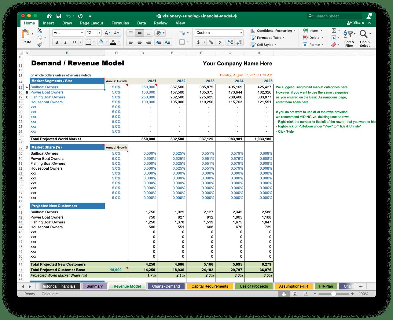 free business plan revenue model excel template