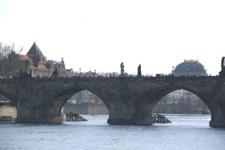 Charles Bridge standing firm on its 16 columns.