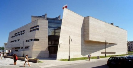 Award-winning National museum in the city of Przemyl. It bears a ventilated façade of Travertine Romano Classico.