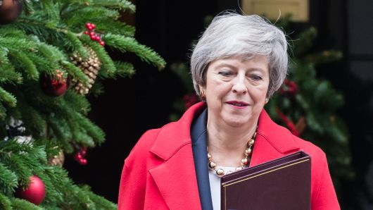British Prime Minister Theresa May leaves 10 Downing Street in central London for the House of Commons where she willopen a five-day debate on the Brexit withdrawal deal ahead of the 'meaningful vote' scheduled for the 11th of December. December 04, 2018 in London, England.
