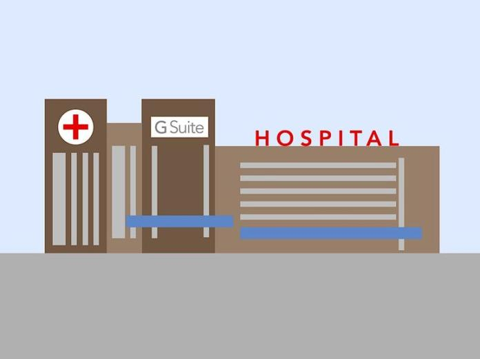 """Illustration of a hospital (with red cross on left tower, G Suite in middle tower, and word """"Hospital"""" above long-horizontal wing"""