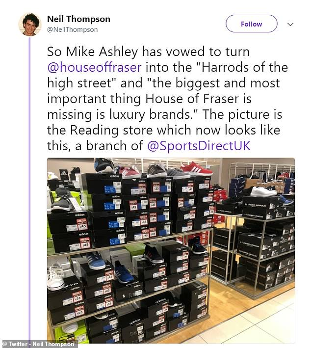 Shoppers are doubtful over the troubled store's transformation at the hands of the 'tracksuit tycoon' after he seemingly swapped luxury brands for discount sportswear (pictured)