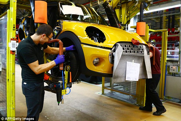 The figure for October to December - fuelled by the steepest decline in car manufacturing (file image) for a decade - compares to 0.6 per cent in the previous three months