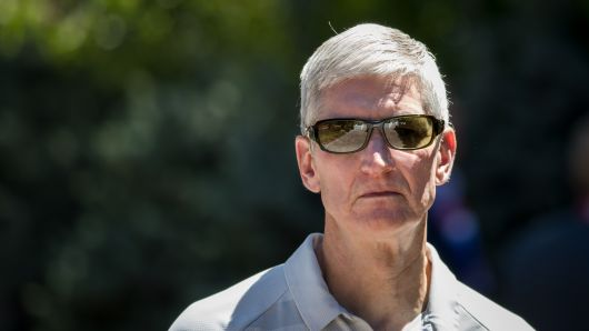 Tim Cook, chief executive officer of Apple, attends the annual Allen & Company Sun Valley Conference, July 12, 2018 in Sun Valley, Idaho.