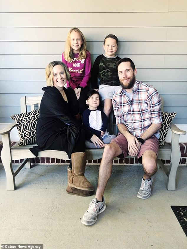 Parents Chris and Eryn Austin, 34 and 35, from Buford, Georgia, who always knew they wanted to adopt, were drawn in by Primrose's striking eyes. Pictured, the family including siblings Madelyn, nine, and River, seven, with Primrose, now five