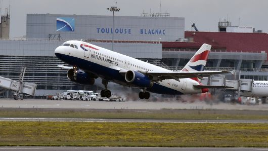 An Airbus A320 of British Airways airline takes off from the Toulouse-Blagnac airport, near Toulouse, on October 19, 2017.