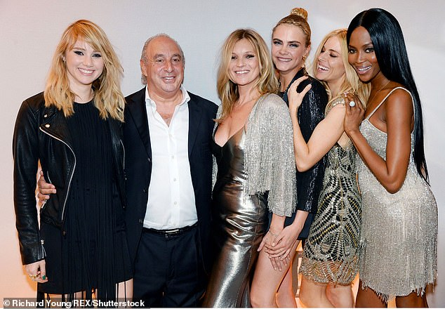 Philip Green with models  Kate Moss, Cara Delevingne, Sienna Miller and Naomi Campbell