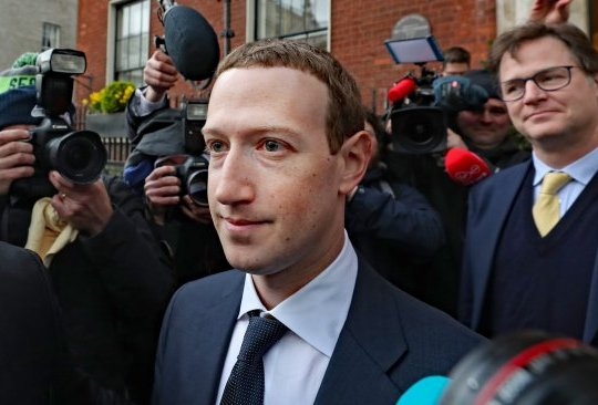 Facebook CEO Mark Zuckerberg leaving The Merrion Hotel in Dublin with as its head of global policy and communications Nick Clegg after a meeting with politicians to discuss regulation of social media and harmful content.