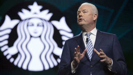 Starbucks President and Chief Executive Officer Kevin Johnson is pictured at the Annual Meeting of Shareholders in Seattle, Washington on March 20, 2019.