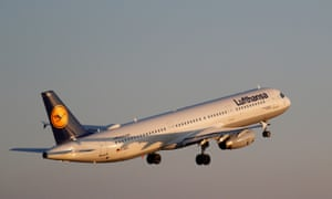 A Lufthansa Airbus A321-100 airplane takes off from the airport in Palma de Mallorca, Spain.