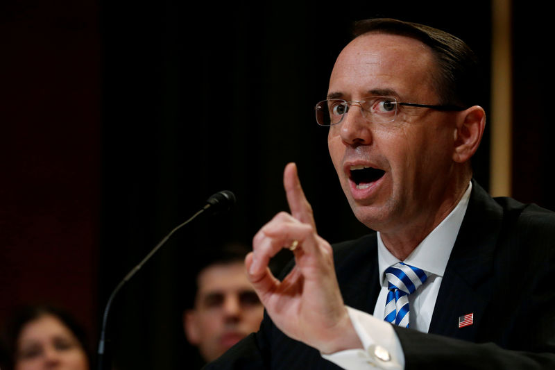 © Reuters. FILE PHOTO: Rosenstein testifies before a subcommittee hearing of the Senate Appropriations Committee on Capitol Hill in Washington
