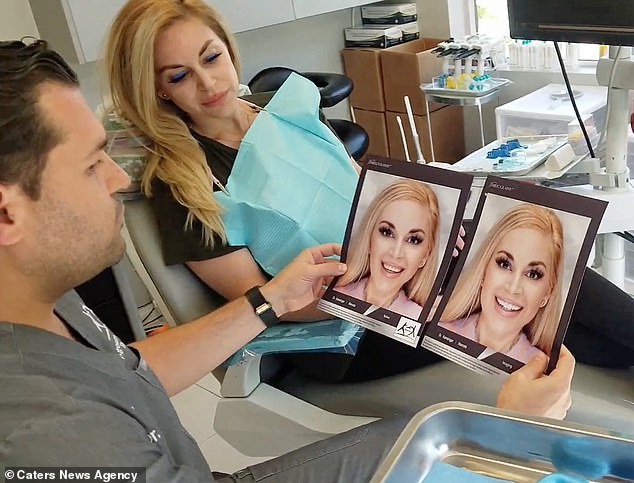 Ms Iglesias went to Dr Kamanger (pictured) of Agoura Advanced Dentistry, who helped her to form a computer simulation of her dream smile - which she based off celebrities