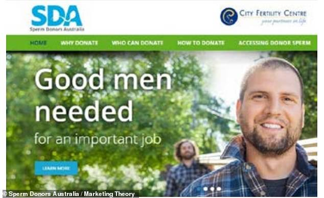 Sperm Donors Australia, on a page from 2016, said 'Good men needed for an important job', suggesting donating sperm would make a man a good person
